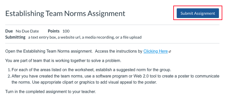 Submit Assignment Example