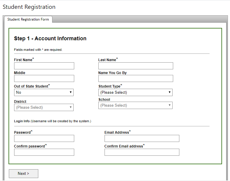 create student account